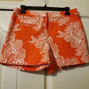 #240 Kenar Orange & White Dress Shorts Size 4